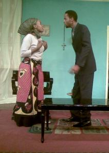 "Valentine Kamau and Andrew Kioo in Chekhov's ""The Proposal"" at Phoenix Theatre"
