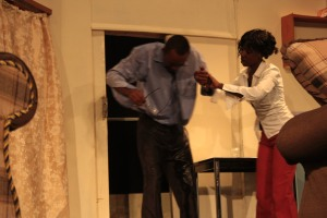 Kinyua and Mwajuma in For Better or For Wife (Prisoner of Second Avenue) photo by Friends Theatre Ensemble