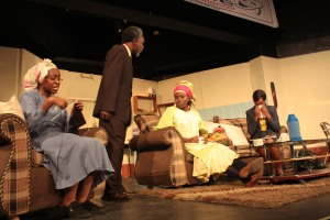Mwihaki, Amunga, Nyakenya and Tharau in For Better or For Wife (Prisoner of Second Avenue) Photo by Friends Theatre Ensemble