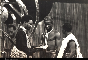Kenneth Watene in the foreground, Abel Ndubu, John Sibi-Okumu and Lydia Kubo in the 1975 production of Joe de Graft's MUNTU photo from John-Sibi Okumu's collection