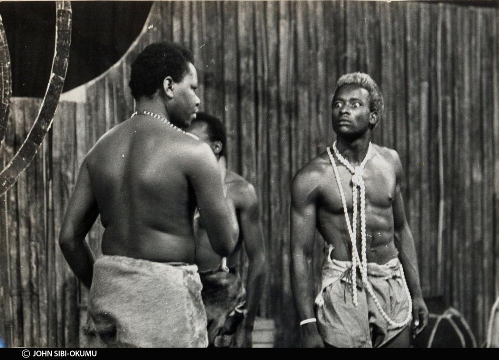Francis Imbuga in the foreground facing John Sibi-Okumu in the 1975 production of MUNTU by Joe de Graft photo from John Sibi-Okumu's collection