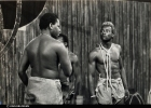 Francis Imbuga in the foreground facing John Sibi-Okumu in the 1975 production of MUNTU by Joe de Graft photo from John Sibi-Okumu's collection