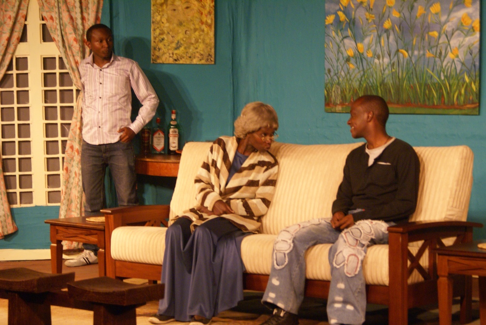 Bruce Makau  as Julius Lydia Githachu as Granny and David Mulei as Samora Photo by Joel Magu