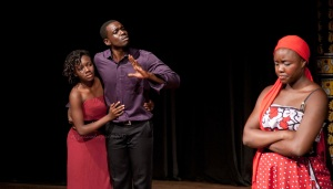 Syliva Namusassi as Anne Page, Neville Misati as Fenton and Kitt Nyangaya as Bi Page (India Tour)  Photo by Veronica Rodriguez