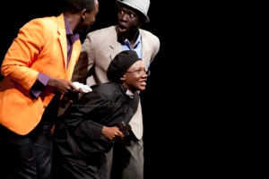 Neville Misati as Slender, Sylvia Namusassi as Bw Evans and Mourad Sadat as Bw Ford (India Tour) Photo by Veronica Rodriguez