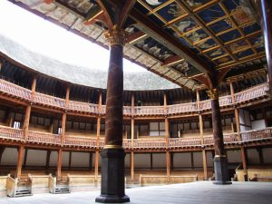 The interior of the Globe Theatre Photo from Wikimedia
